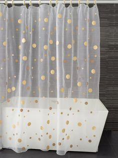 // gold dot shower curtain