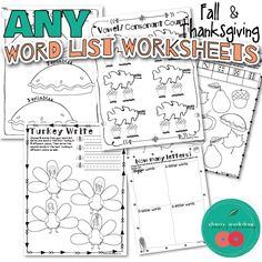 Fall and Thanksgiving Vocabulary Worksheets for ANY Word List. DIY Games and Hands-on activities included.