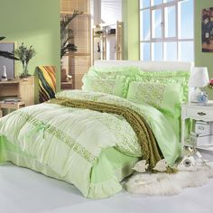 Home textile,Royal beauty green 100% Cotton Painting Beautiful flower Duvet Cover & Comforter Sets Bedroom Sets king/queen size $75.99 - 85.99