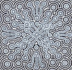 Yalka (Bush Onion Dreaming) - By Peter Mbitjana Palmer Aboriginal Artwork, Aboriginal Artists, Textures Patterns, Print Patterns, Desert Art, Dot Art Painting, Black And White Abstract, Australian Art, Indigenous Art