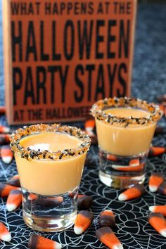 Pumpkin pie shots with RumChata and halloween sprinkles. Fun way to celebrate Halloween. Party shots are up for grabs at the dessert table when they taste like pumpkin pie. Halloween Shots, Halloween Cocktails, Halloween Appetizers, Halloween Food For Party, Halloween Desserts, Holiday Drinks, Holiday Recipes, Halloween Stuff, Halloween Halloween