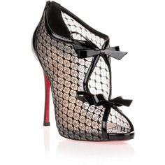 Christian Louboutin Empiralta 120 Black Lace Sandal (15,475 MXN) ❤ liked on Polyvore featuring shoes, sandals, heels, pumps, обувь, black heeled sandals, high heeled footwear, lace-up sandals, black heeled shoes and black shoes