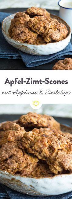 Die Kombination Apfel und Zimt - unschlagbar. Mit Apfelmus und Zimtchips zu amerikanischen Scones geknetet - ein Gedicht.