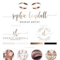 Rose gold eyelash logo design Makeup Logo Design, Lash Logo, Rose Gold EyeLash Branding Set, Stamp Watermark, Beauty Salon Boutique, Make up Artist, Marketing Kit