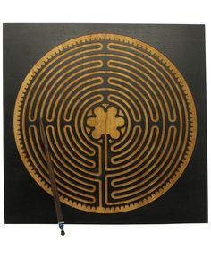 Dark Colored Wooden Labyrinth Hanging, Made in USA