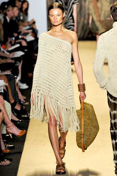 Michael Kors (take a poncho pattern and turn it into a dress. make an arm whole opening as you crochet)