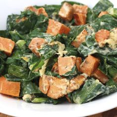 wilted greens and roasted sweet potato salad