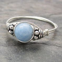 Aquamarine Bali Sterling Silver Wire Wrapped Ring by KimsJewels, $10.00