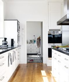 simple white cabinets - dark counters