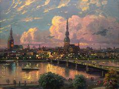 Sunset over Riga   The Thomas Kinkade Company
