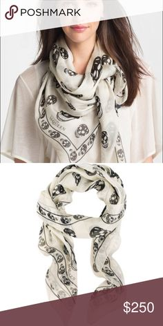Alexander McQueen Skull Chiffon Scarf NWOT 100% authentic white and black Alexander McQueen Skull scarf. New without tags, never worn. Perfect condition. Alexander McQueen Accessories Scarves & Wraps