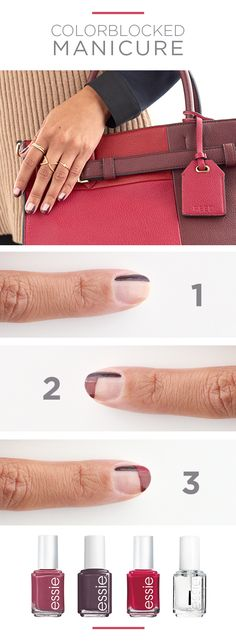 Colorblocking is king this fall from handbags to manicures. Take the trend a step further and match your mani to your catchall. Featured product: REED handbag, essie nail polish in Smokin' Hot grey, Angora Cardi plum, Plumberry red, and Good to Go top coa Diy Nails, Cute Nails, Pretty Nails, Essie Nail Colors, Essie Nail Polish, Beauty Nails, Diy Beauty, Uñas Diy, Manicure And Pedicure