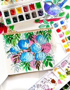 Watercolor, fruits, watercolor florals, flowers Watercolour Painting, Floral Watercolor, Candy Floss, Florals, Fruit, Paper, Floral, Flowers, Watercolor Flowers