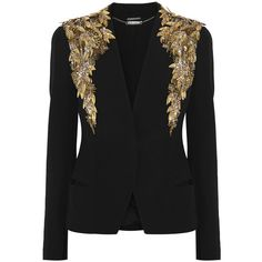 Alexander McQueen Embellished crepe jacket (129.755 RUB) ❤ liked on Polyvore featuring outerwear, jackets, blazers, alexander mcqueen, coats, black, sequin blazer jacket, embellished jacket, beaded jacket and crepe jacket