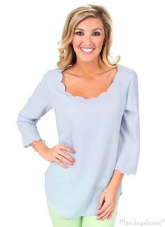 We LOVE this Sky Blue Call Me Maybe Scallop Top for spring and summer! Get it at MondayDress.com!