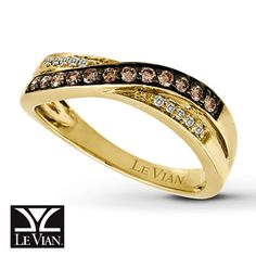 Le Vian Chocolate Diamonds® 14K Gold ¼ Carat t.w. Ring Would look great in vanilla gold!!