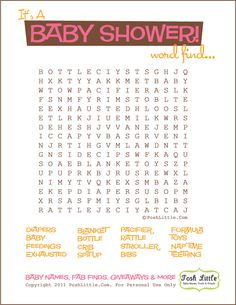 Download our free Baby Shower Word Find game. It's cute, modern and printer friendly