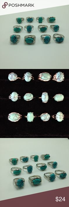 WHOLESALE Bundle lot 12 Turquoise dozen silver gem Wholesale Bundle lot 12 Natural Gemstone Buffalo Turquoise Howlite Silver plated ring. Mixed Metals including silver. No Stamps. Lead & Nickel free. You will receive all the RINGS shown. Not sold Individually, no exceptions! Price is absolutely firm! Assorted mix sizes: 6/7, 7/8, 8/9, 9. Specific sizes are not available. Great for RESALE! No offers will be accepted. Bundle to SAVE! R#2008 Urban Outfitters Jewelry Rings