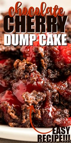 This chocolate cherry dump cake is so simple to make: just pour your cherry pie filling in a casserole dish, top with chocolate cake mix and butter and you're ready for baking. Chocolate Cherry Dump Cake, Chocolate Cake Mix Recipes, Chocolate Pudding Cake, Dump Cake Recipes, Dump Cakes, Dessert Chocolate, Chocolate Cake Mix And Cherry Pie Filling Recipe, Black Cherry Pie Filling Recipes, Cherry Pie Cake Recipe