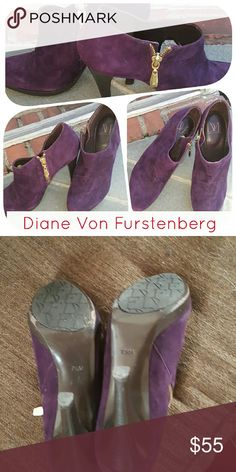 Fab DVF Grape killer booties 7.5 These are absolutely gorgeous and I was asked to sell them. Reasonable offers are fine and heels or four inches. The only condition it is eear in soles. I was not given the Box DVF Shoes Ankle Boots & Booties