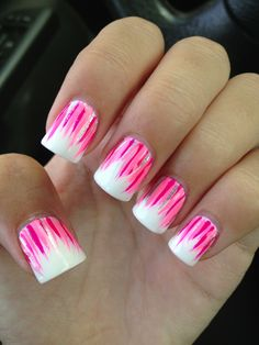Cute white and pink nail designs