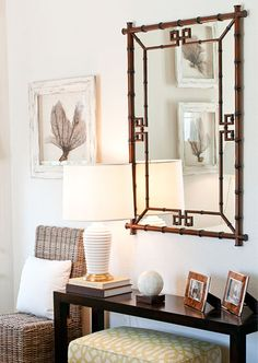 Haus and Home:   Love the mirror decor, mirror, interior, table lamps, island style, vignett, foyer, guest rooms, console tables