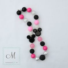 Minnie Mouse Inspired Pink, Black and White Chunky Beads Girls Necklace - Disney Inspired Chunky Necklace on Etsy, $21.00