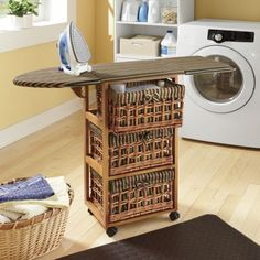 Be easy to build an ironing board over top of any storage unit if live in a small space. You could flip both ends down and use it for other things when you are not ironing like an end table to hold a lamp or something.