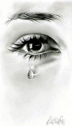 eye and teardrop realistic sketch