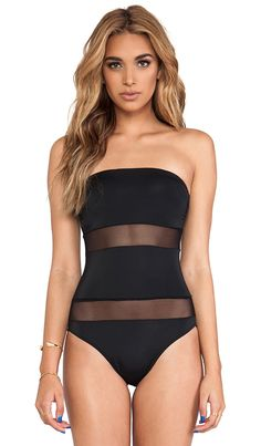 black one piece swimsuit with sheer panels