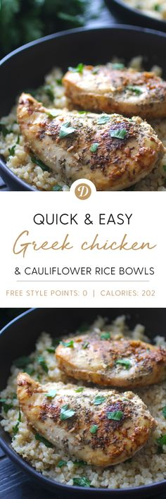 Greek Chicken & Cauliflower Rice Bowls