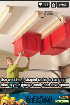 garage organizing: SO GOING TO DO THIS TO FREE UP SHELF SPACE.