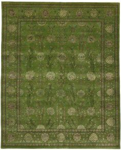 Modern Green Rug with Transitional Style | From a unique collection of antique and modern indian rugs at https://www.1stdibs.com/furniture/rugs-carpets/indian-rugs/