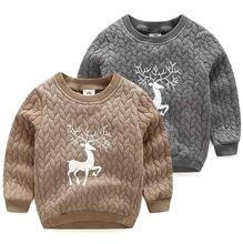 Christmas Gifts 2016 Autumn Winter Kids Sweatshirts Boys Girls Warm Casual O-neck Hoodies Deer Patterns Long Sleeve Tops Clothes(China (Mainland))
