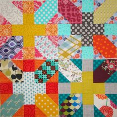 Some more gorgeous Japanese X and + blocks.  up-scaled in size but still using the same tutorial by Amy of Badskirt. Link provided.