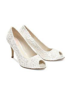 ce57a117815 Cosmos Lace Peep Toe Shoes Bridal Shoes