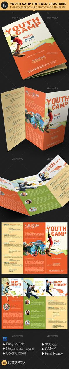 buy youth camp tri fold brochure template by godserv on graphicriver youth camp tri fold brochure template created with photoshop for church youth camp - 2 Fold Brochure Template Photoshop