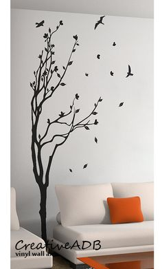Wall sticker art decoration - Tree and birds 3 Sizes available. Remember to choose the size that fits you wall space. If you need a custom size Tree Wall Painting, Creative Wall Painting, Decorative Wall Paintings, Large Wall Paintings, Painting Brick, Vinyl Wall Art, Vinyl Decals, 3d Wall, Bedroom Wall