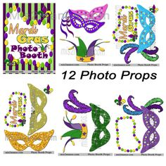 Mardi Gras Party Photo Booth Props INSTANT by M2MPartyDesigns
