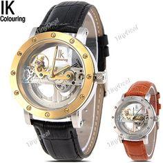 (IK COLOURING) Waterproof Auto Mechanical Hollow-out Wristwatch Watch Timepiece w/ Genuine
