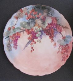 Limoges Antique Plate by Jean Pouyat Hand Painted Artist Signed Antique Dishes, Antique Plates, Vintage Plates, Vintage Dishes, Old Plates, Vintage China, China Plates, Plates And Bowls, Plates On Wall