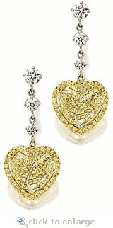 Ziamond Cubic Zirconia Heart Earrings Canary CZ Drops 14K Gold.  The Diorro Drops feature a 5.5 carat canary yellow heart suspended from three cubic zirconia rounds.  $2895 #ziamond #cubiczirconia #cz #earrings #drops #14kgold #heart #canary #diamond #jewelry