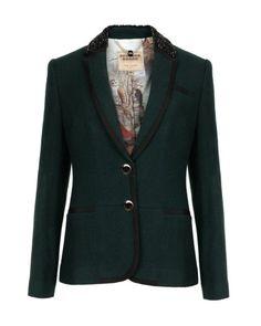 Embellished collar blazer - Dark Green | Suits | Ted Baker