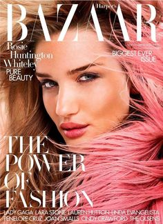 British model rosie huntington-whiteley (img) wows on the cover of harper's bazaar magazine uk, september 2014 issue. photographed under the lens of david V Magazine, Fashion Magazine Cover, Fashion Cover, Health Magazine, Rosie Huntington Whiteley, Brooke Shields, Vanity Fair, Revista Bazaar, Marie Claire