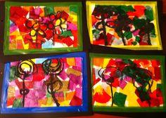 Trossets de paper de seda i flors pintades amb pintura negra