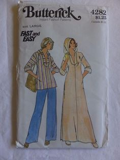 Vintage Butterick Misses' Caftan & Top Pattern #4282. Size Large 16-18 UNCUT  #Butterick