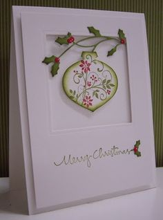 Poinsettia Ornament by Loll Thompson - Cards and Paper Craft.- Poinsettia Ornament by Loll Thompson – Cards and Paper Crafts at Splitcoaststampers christmas ornament card - Homemade Christmas Cards, Christmas Cards To Make, Xmas Cards, Christmas Greetings, Homemade Cards, Handmade Christmas, Holiday Cards, Christmas Christmas, Christmas Ornament