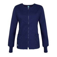 Junior fit round neck zippered warm up jacket gets it clean-cut modern shapefrom diagonally curved shoulder yoke and back princess seaming. Navy Blue Scrubs, Scrub Jackets, Workout Warm Up, Fashion Brands, Topshop, Zip, Blouse, Fitness, Cozy Knit