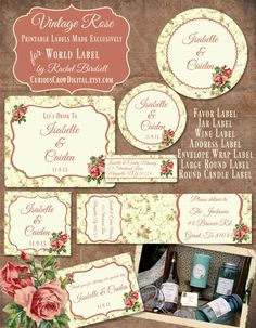 Free vintage rose labels in editable PDF templates are designed by Rachel Birdsell. Use them for your wedding labels, favor labels, even organizing your pantry. Included are address labels, wine label size, round labels, a envelope wrap label and more. Start downloading now and enjoy there rose themed vintage labels.