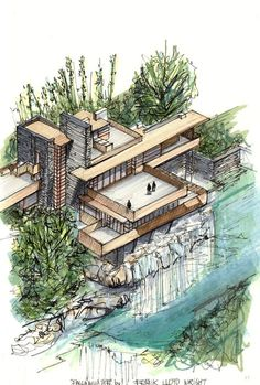20 Beautiful Axonometric Drawings of Iconic Buildings,Fallingwater House / Frank Lloyd Wright / 1939. Image Courtesy of Diego Inzunza - Estudio Rosamente